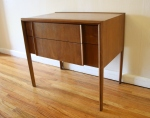 Drexel Parallel side end table, streamlined design, 2 dovetailed drawers: $295