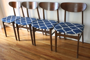 mcm set of 4 dining chairs blue pattern 1