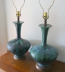 Pair of mid century modern pottery lamps - $225