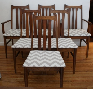 mcm chevron slatted dining chairs set of 6