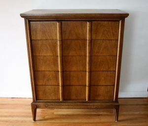 mcm Dixie tall dresser with streamlined drawers handles 1