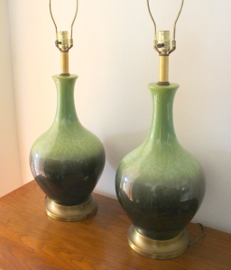 Pair of mid century modern pottery lamps in green: $175