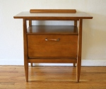 Mid century modern side table with flip top drawer: $195