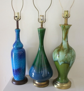Mid century modern pottery lamps: Green blue pottery lamp (middle) and green pottery lamp (right) are available: $115 each.  Blue pottery lamp (left) is sold.