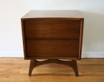 Mid century modern side end table with concave design and 2 dovetailed drawers - *SOLD*