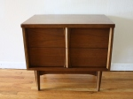 Mid century modern side end table with 2 dovetailed drawers: $265