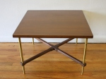 Mid century modern side end table with cross base design and brass legs: $195