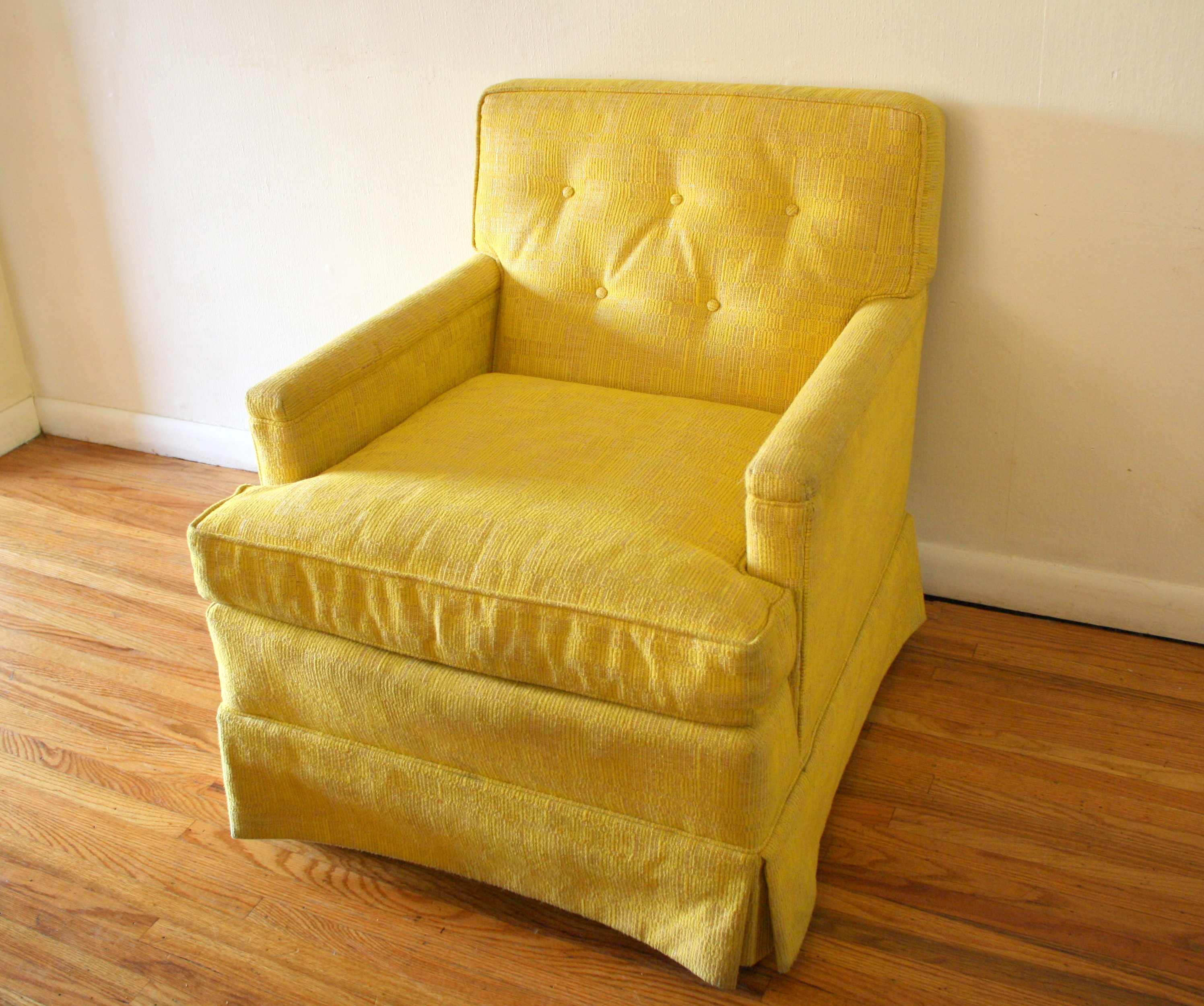 Mcm Yellow Upholstered Arm Chair 1