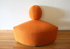 mid century modern orange corner seat 1