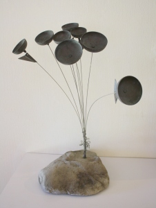 Brutalist flower chime sculpture 1