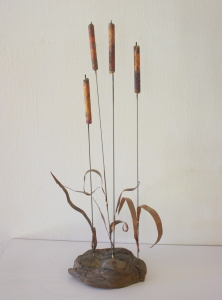 Brutalist river reed sculpture 1