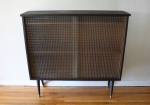Mid century modern large bookcase with bubble glass doors