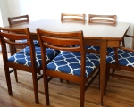 mcm dining chair set of 6 blue seat with table 1