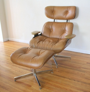 mcm eames plywood lounge chair with ottoman 1