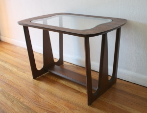 mcm glass topped angle table 1