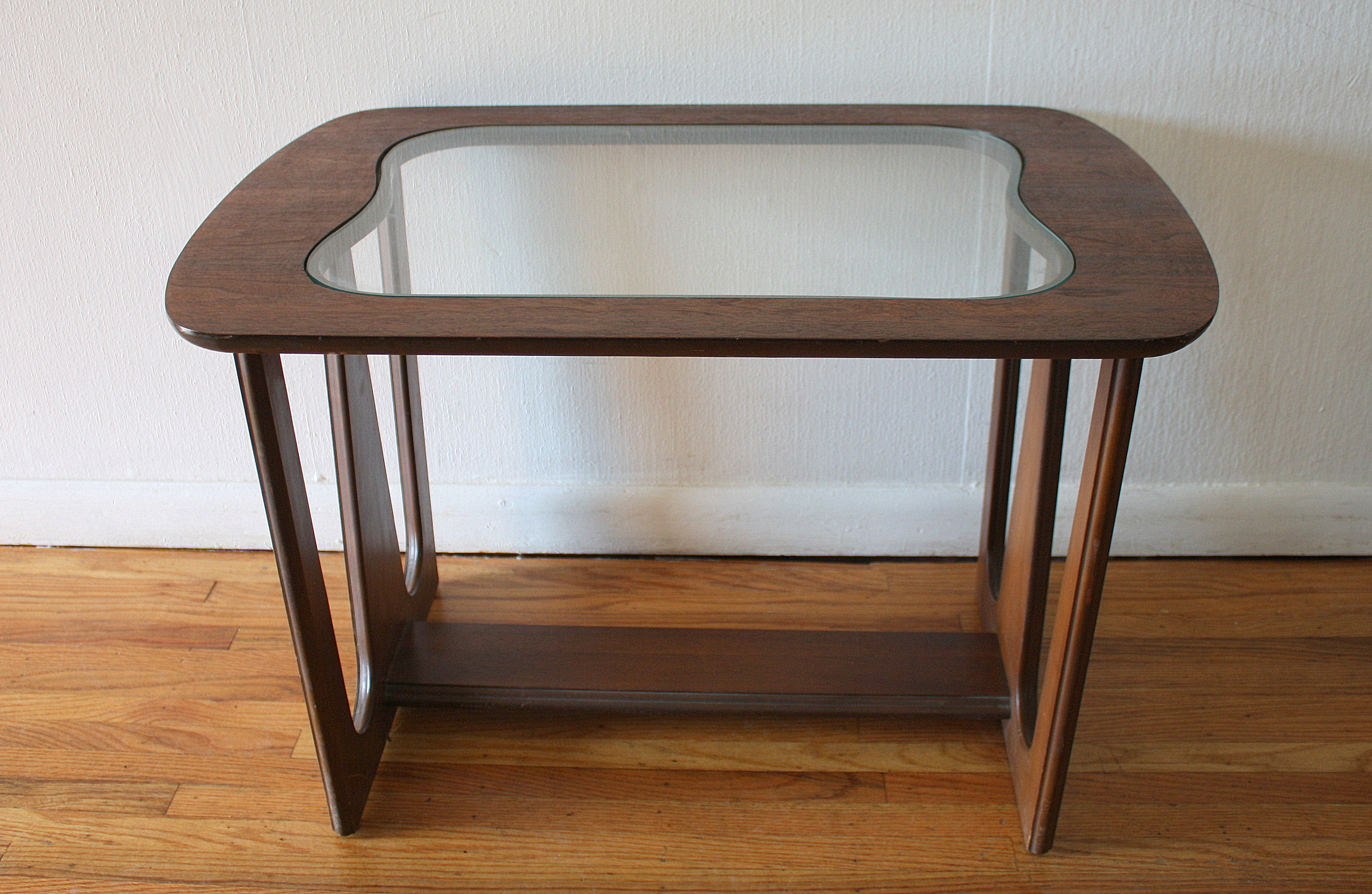 Mid Century Modern Sculpted Side End Tables With Glass