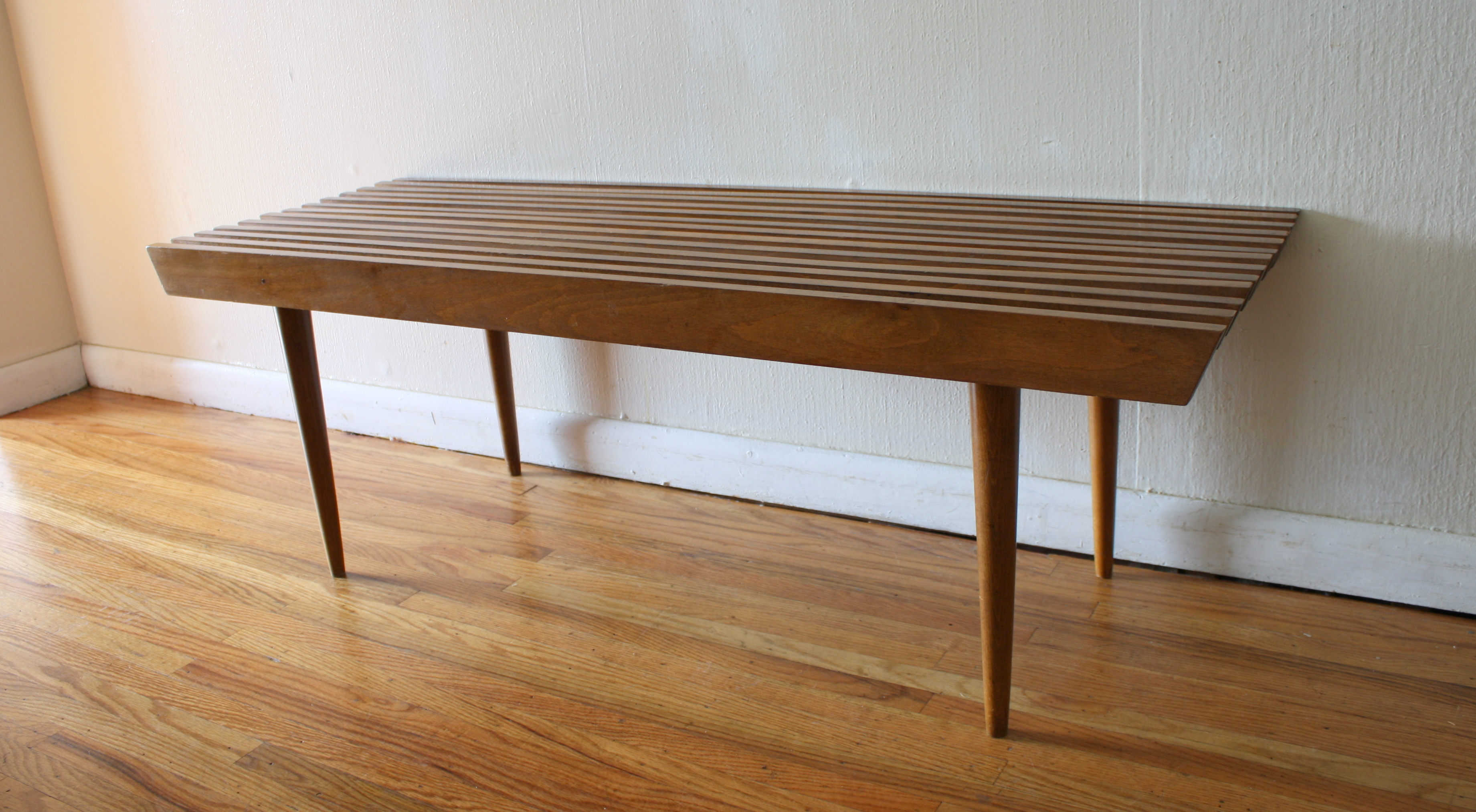 mid century modern slatted coffee table bench picked vintage