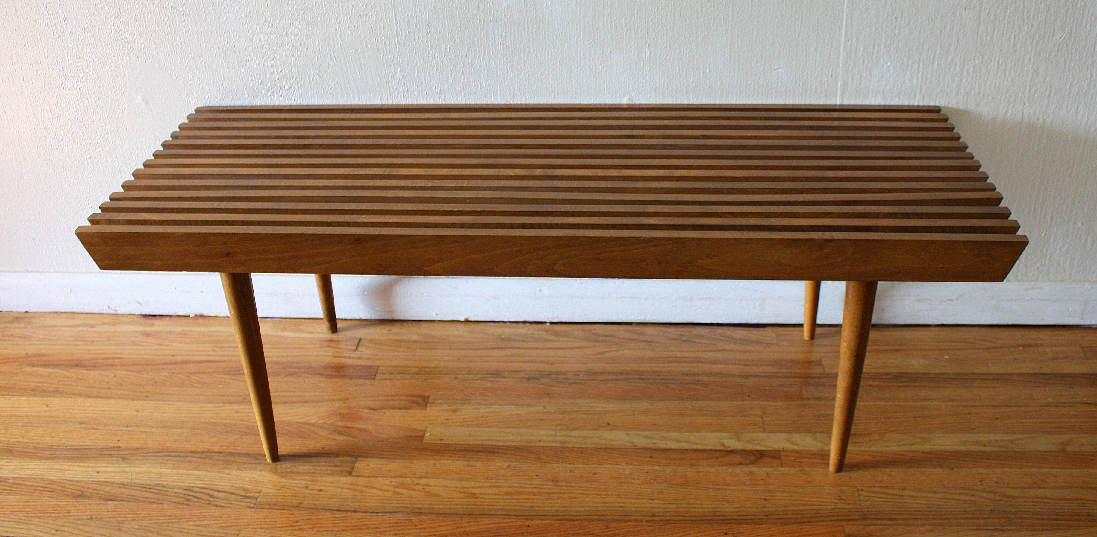 mid century modern coffee table. Mid Century Modern Slatted Coffee Table Bench