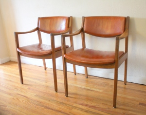 Gunlocke orange chair pair 1