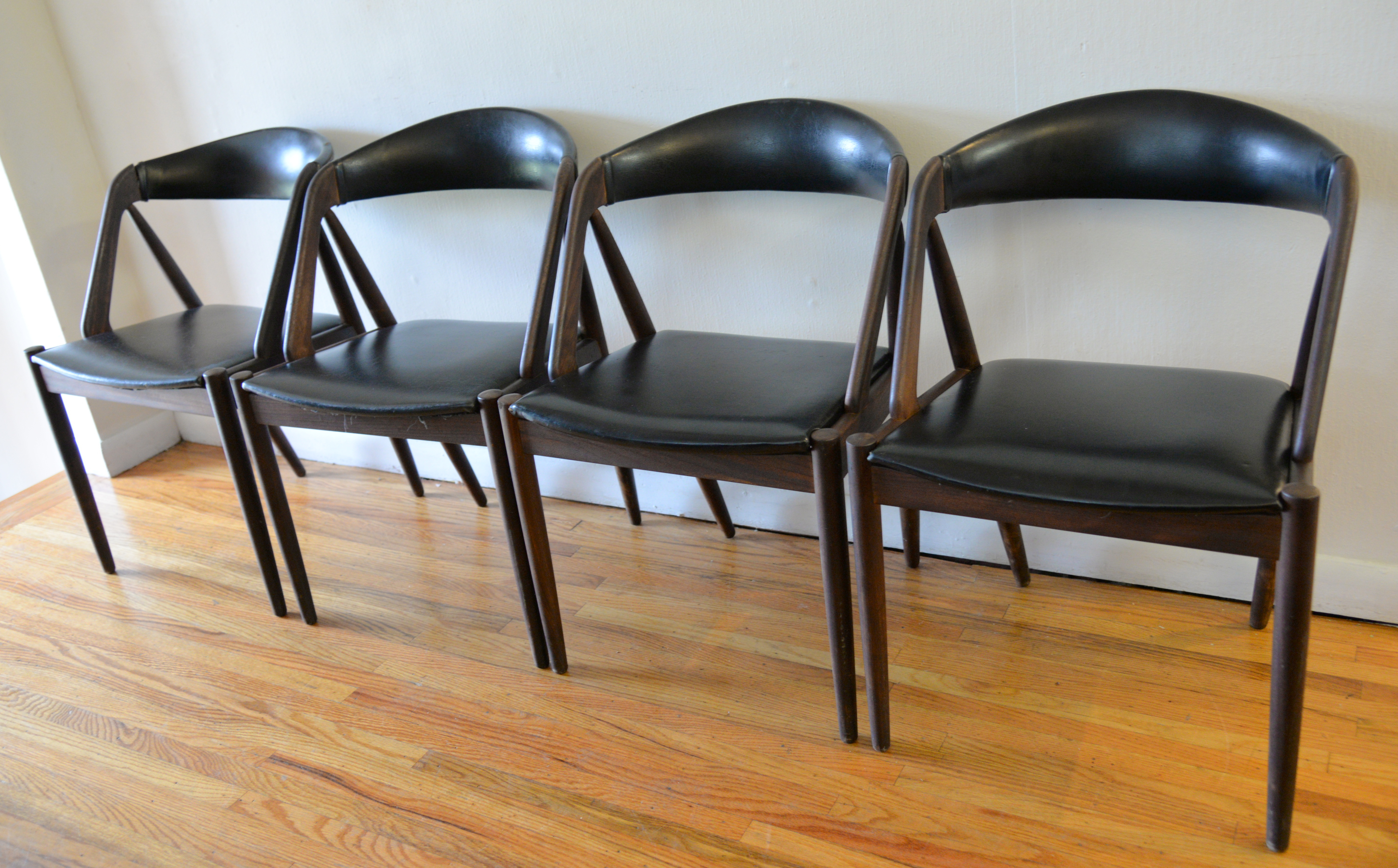 mid century modern dining chairs by kai kristiansen picked vintage. Black Bedroom Furniture Sets. Home Design Ideas