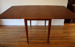 mcm teak dining table with folding leaves 2