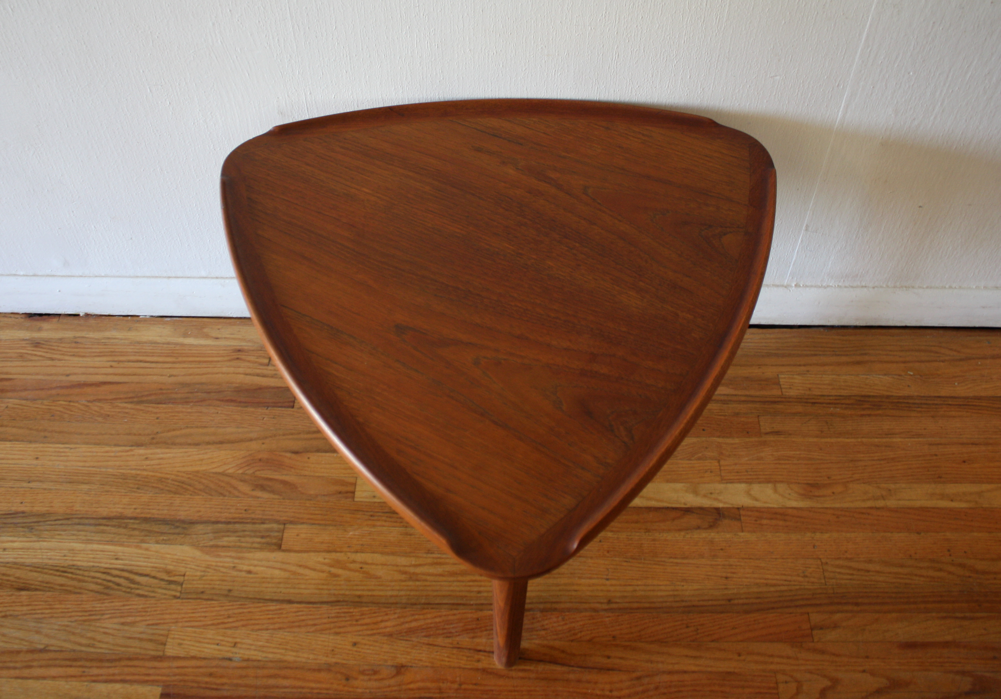 Mid Century Modern Danish Teak Guitar Pick Side Table Picked Vintage
