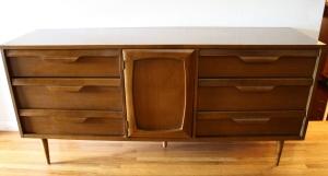 mcm Bassett low dresser credenza sculpted handles 1