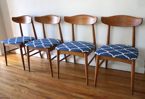 mcm dining chair set of 4 blue seats 1