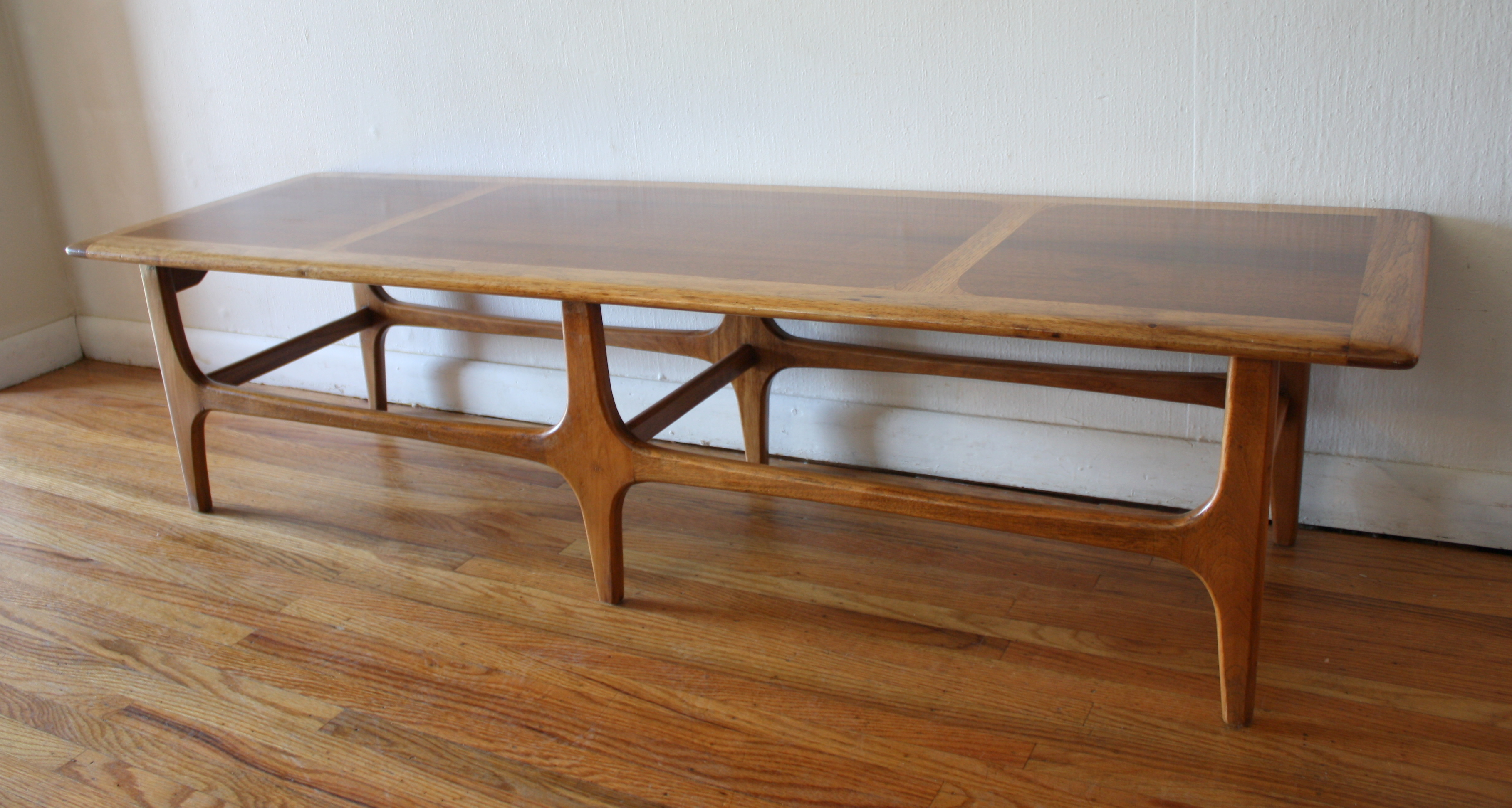 Mid Century Modern Coffee Table with Sculpted Base