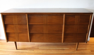 mcm parquet louvered 9 drawer low dresser credenza 1