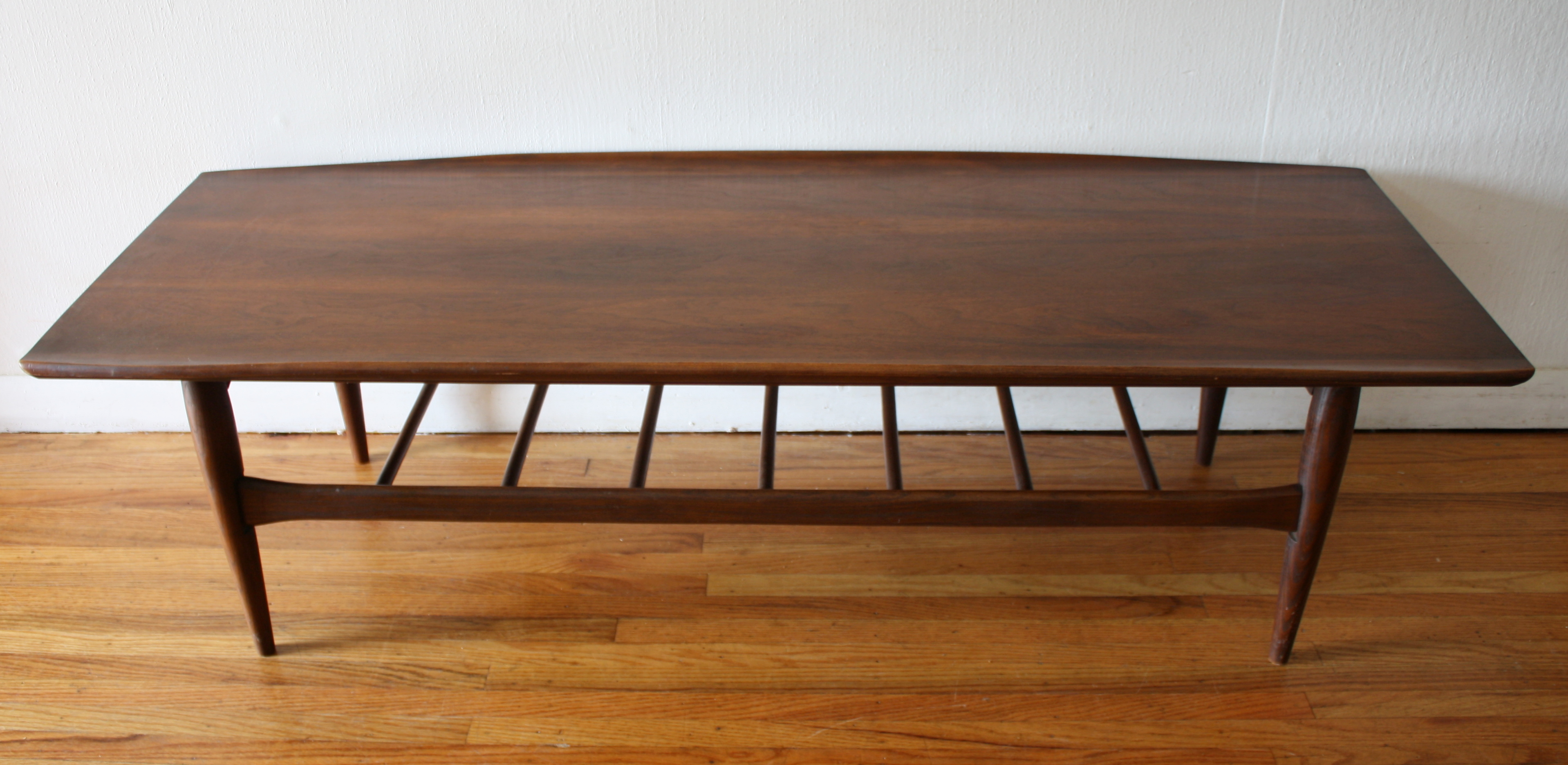 Mid Century Modern Surfboard Coffee Table with Slatted Shelf