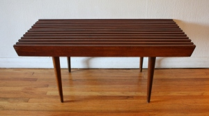 mid century modern slatted bench 1