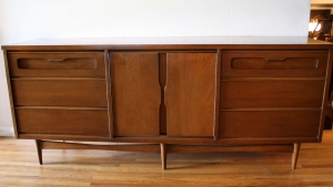 bassett low dresser credenza with sculpted drawers 1
