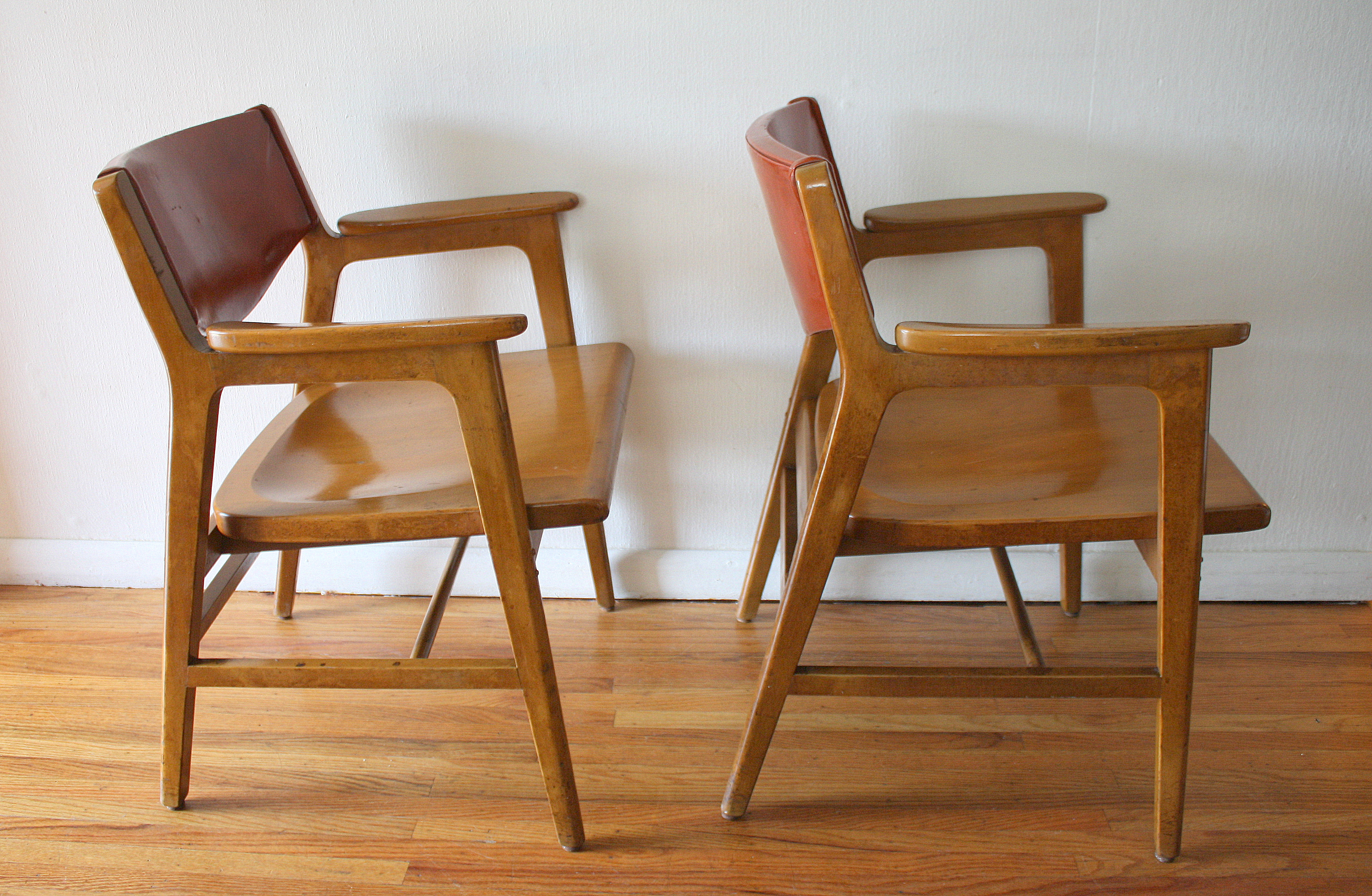 Wonderful Mcm Gunlocke Chairs Solid Wood 3