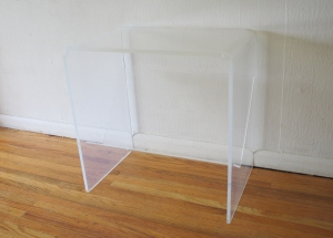 mcm lucite side table with magazine rack 1
