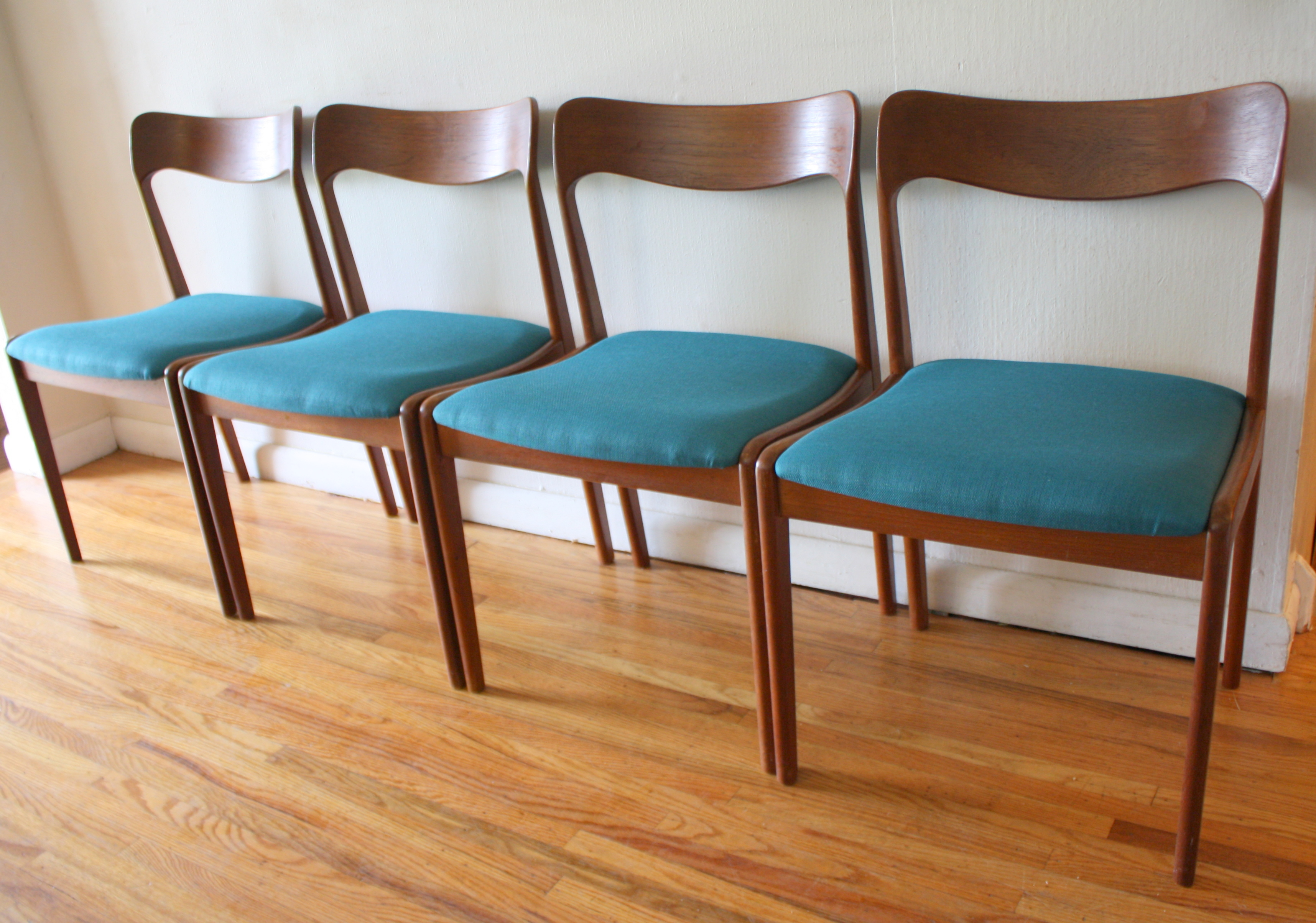 Mid Century Modern Danish Teak Dining Chairs and Folding Table