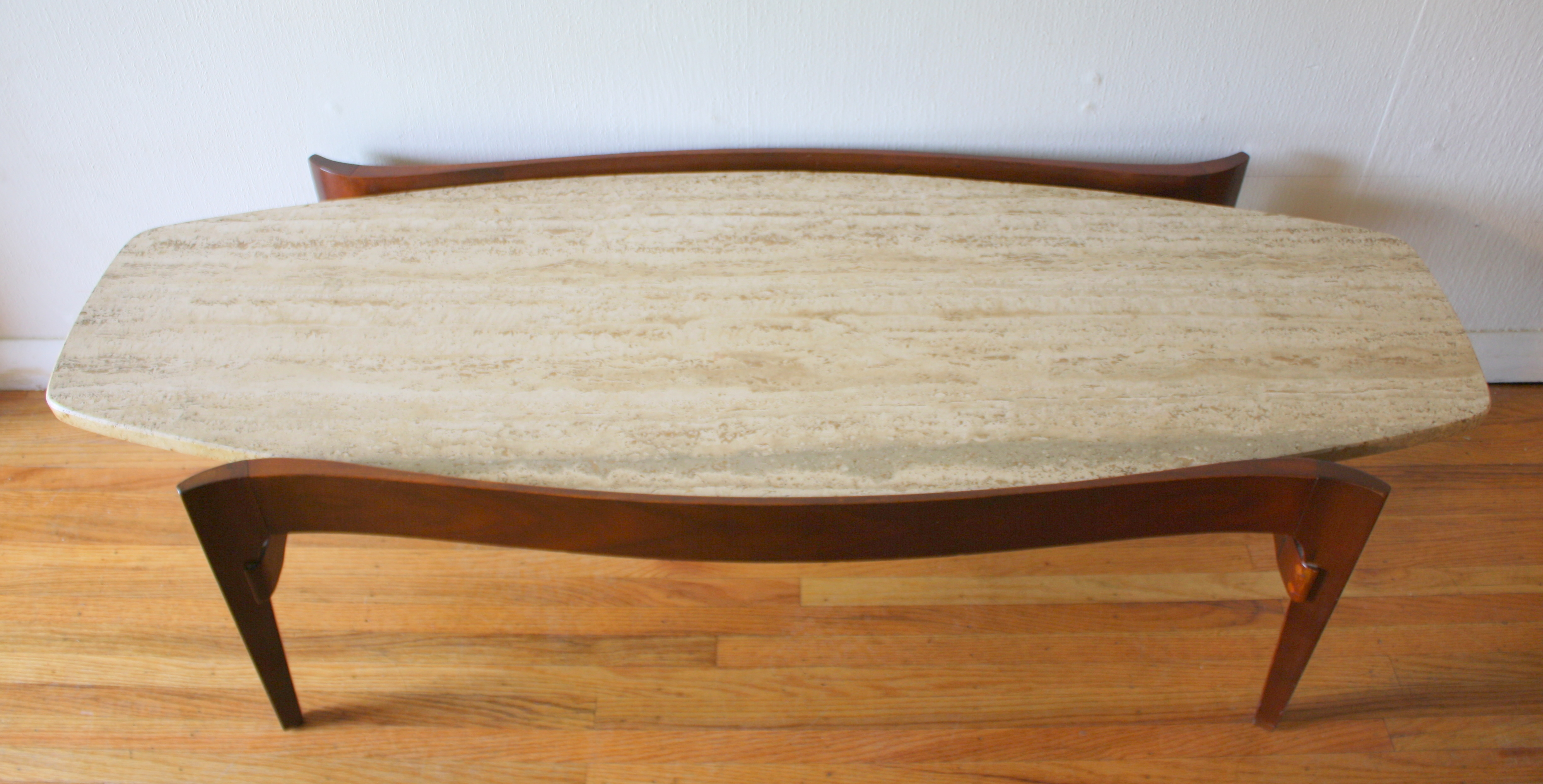 Mid Century Modern Surfboard Coffee Table with Floating Marble Top