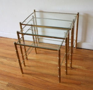 brass faux bamboo nesting tables 1