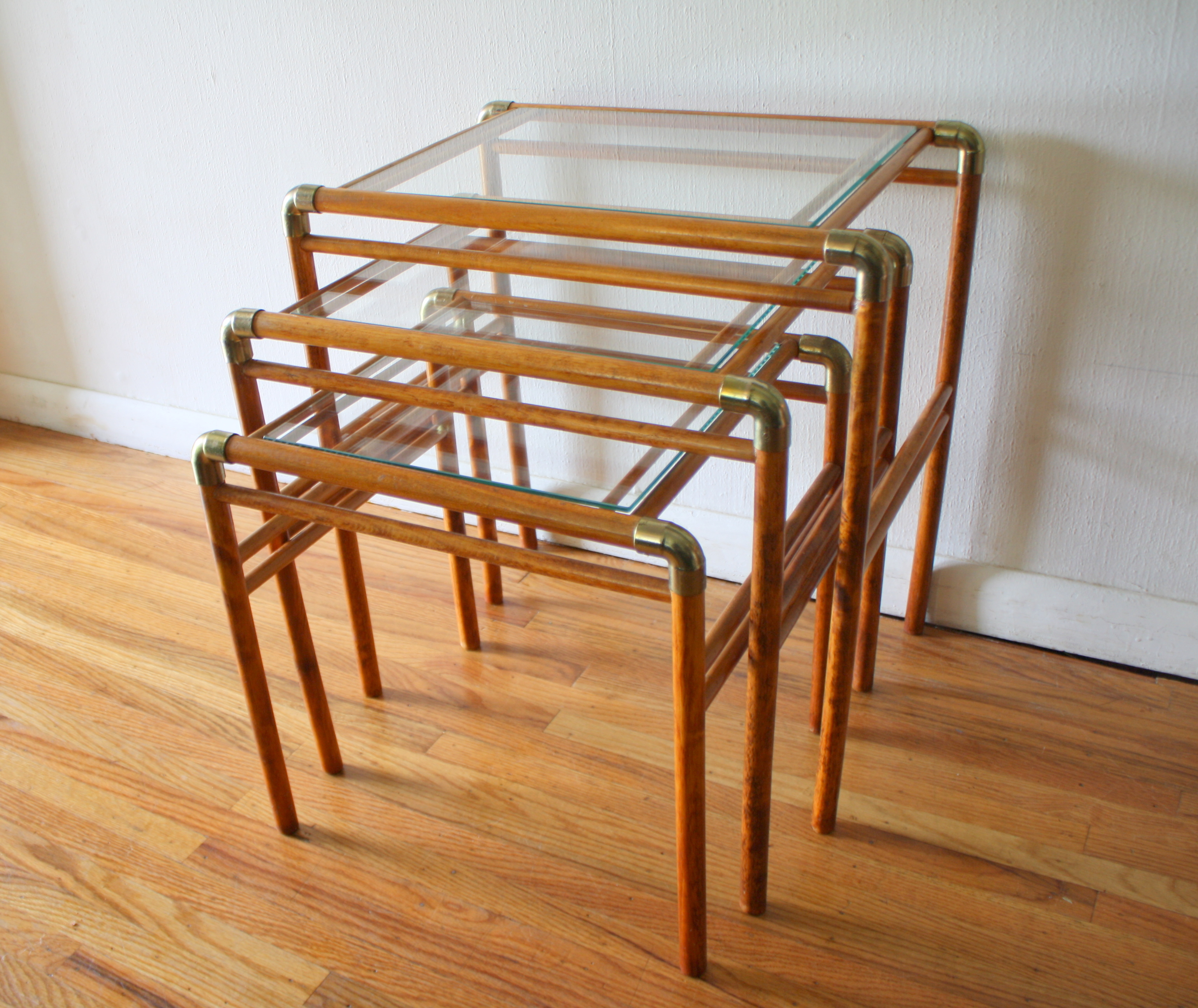 tile  picked vintage - mcm brass and wood nesting tables