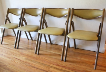 Upholstered Wooden Folding Chairs mid century modern sets of folding chairscoronet | picked vintage
