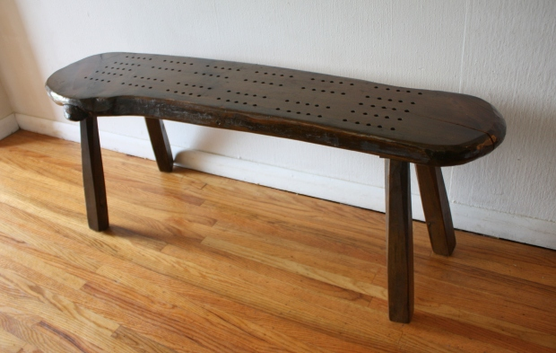 cribbage slab table bench 1