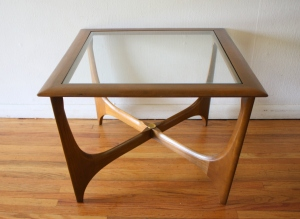 Lane glass topped coffee side end table 1