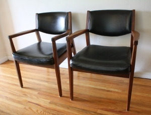 mcm black arm chair pair 1