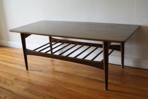 mcm coffee table with slatted bottom shelf 1