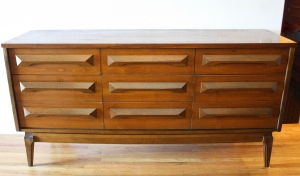 mcm low dresser credenza with angled wood handles 1