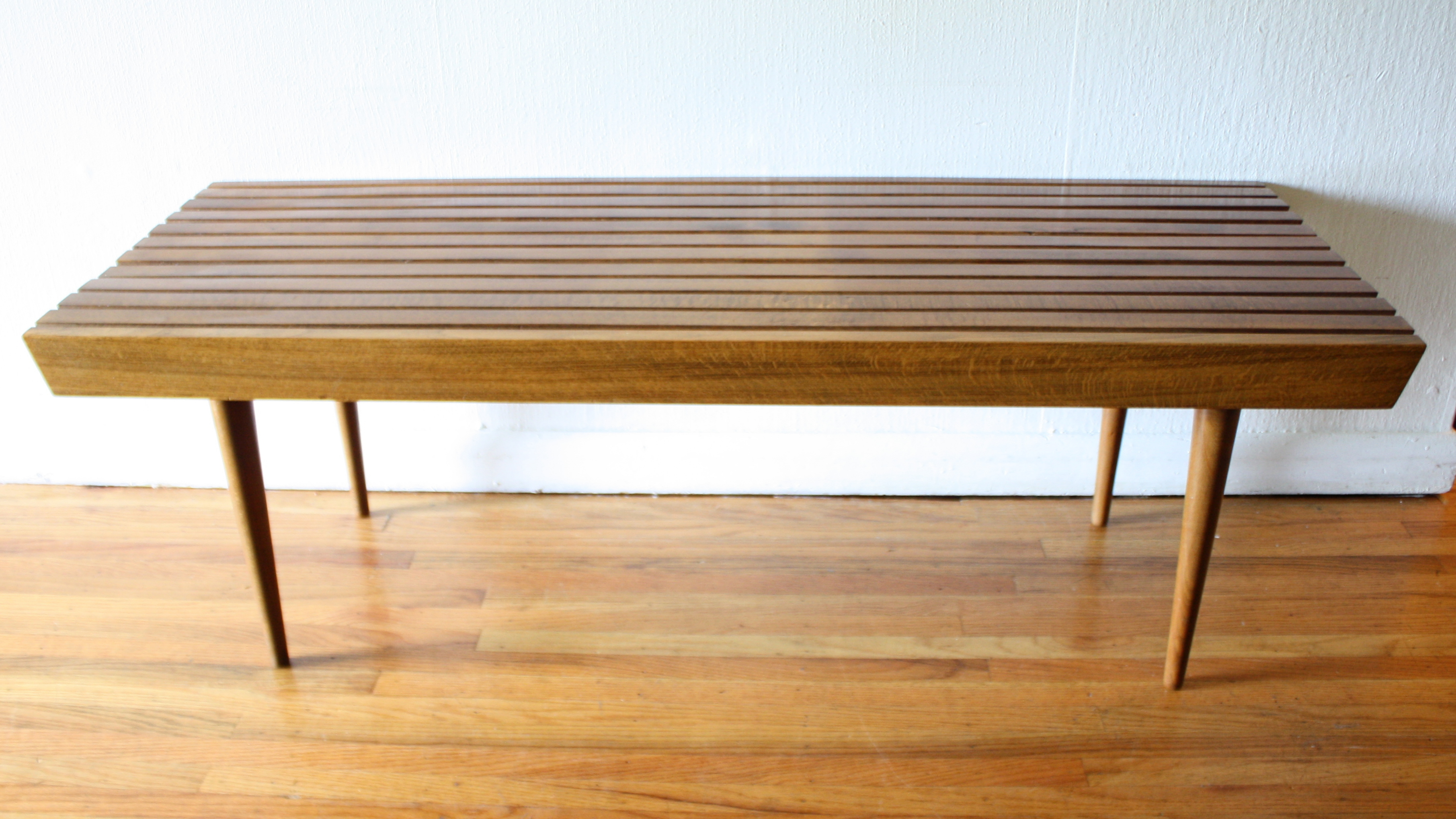 Mid Century Modern Slatted Bench Coffee Table