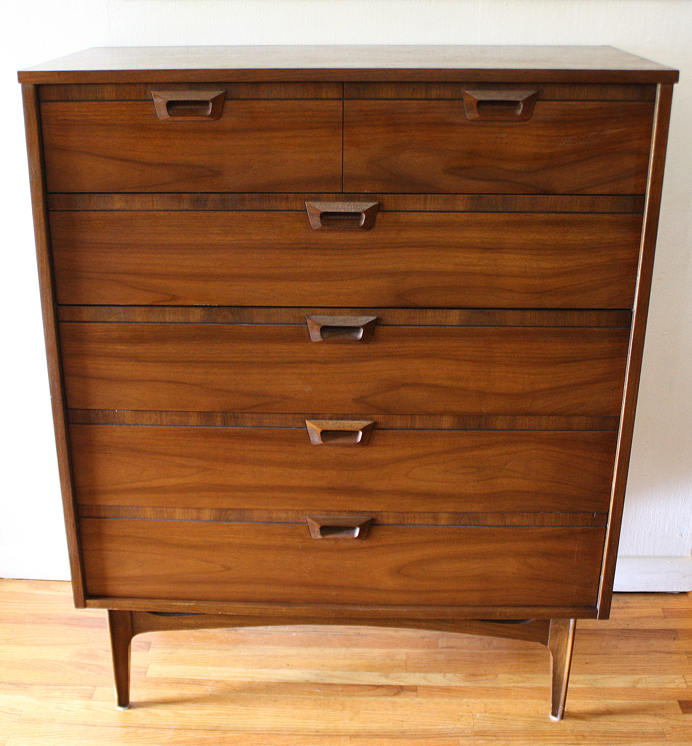mcm tall dresser with carved wood handles 1
