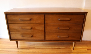Bassett low dresser credenza w parquet and wood handles 1