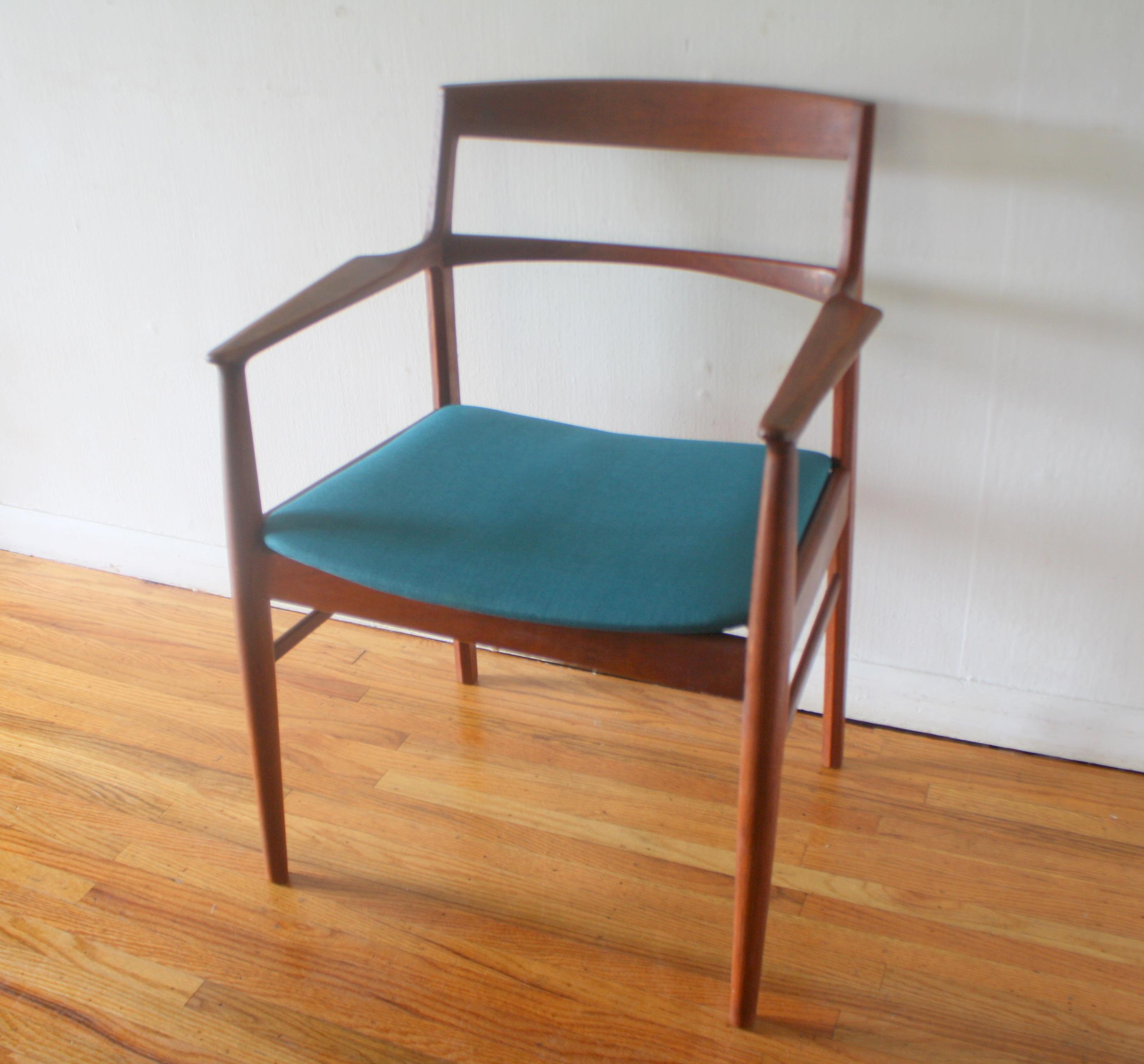 Danish teak chair with teal seat 1