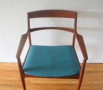 Danish teak chair with teal seat 2